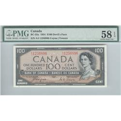 Bank of Canada, $100.00 Devil's Face, BC-35a, graded PMG AU-58 EPQ, Coyne Towers, A/J1256896.