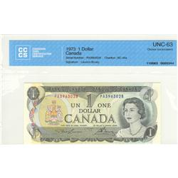 Bank of Canada, $1.00 1973, BC-46a, graded CCCS UNC-63, Lawson Bouey, PA3963028.