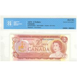 Bank of Canada, $2.00 replacement 1974, BC-47bA, graded CCCS AU-50, Crow Bouey, ABX1629997.