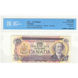 Bank of Canada, $10.00 replacement & repeater note 1971, BC-49aA, graded CCCS AU-50, Beattie Rasmins