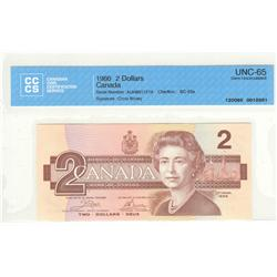 Bank of Canada, $2.00 1986, BC-55a, Crow Bouey, AUH8917219, graded CCCS UNC-65.
