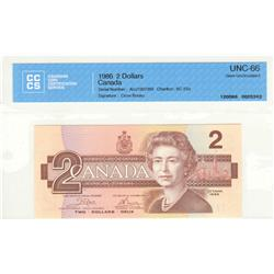 Bank of Canada, $2.00 1986, BC-55a, Crow Bouey, AUJ7307392, graded CCCS UNC-66.
