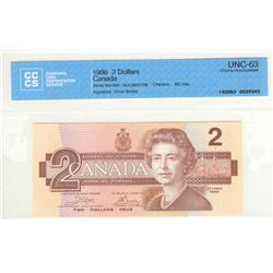 Bank of Canada, $2.00 1986, BC-55a, Crow Bouey, AUL0803799, graded CCCS UNC-63.