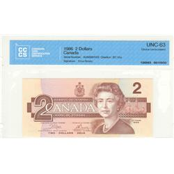 Bank of Canada, $2.00 1986, BC-55a, Crow Bouey, AUN3067023, graded CCCS UNC-63.