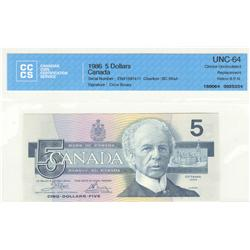 Bank of Canada, $5.00 replacement 1986, BC-56aA, graded CCCS UNC-64, Crow Bouey, ENX1597417, Yellow