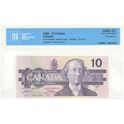 """Bank of Canada, $10.00 """"Changeover"""" 1989, BC-57a, graded CCCS UNC-67, Thiessen Crow, BDH0771216."""