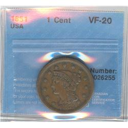 USA Large Cent 1851, Graded CCCS VF-20.