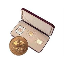 3 Cents Proof Set 2001 In case with gold stamp (plated paper) & stamp.