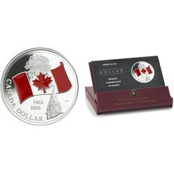 Dollar proof 2005 40th anniversary of the Canadian Flag Colored.