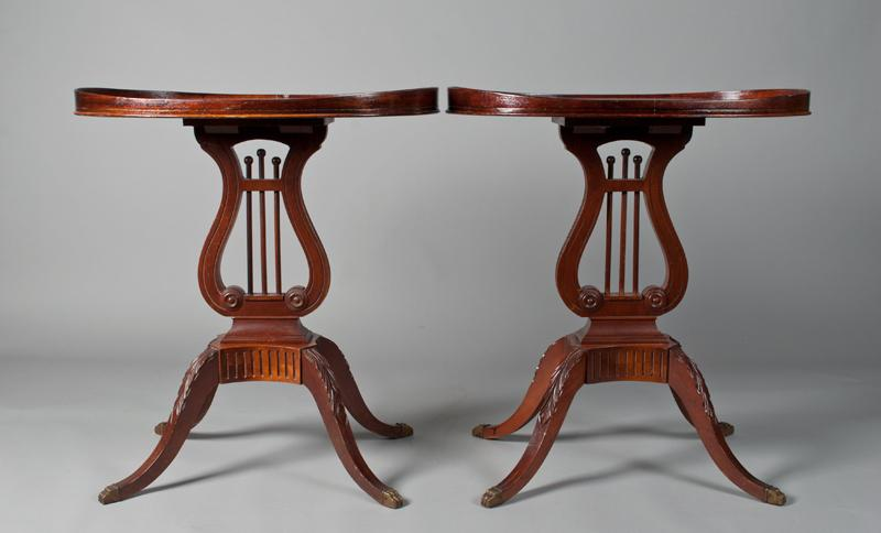 Pr Of Mersman Harp Lyre End Tables