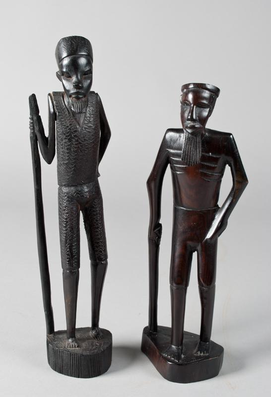 2 Hand Carved African Ebony Wood Figures