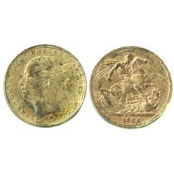 Melbourne, Australia, sovereign, Victoria (young head), 1886-M, from the Egypt (1922).