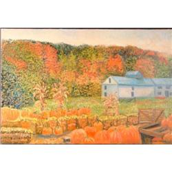 Howard Newman Original Landscape Painting PUMPKINS Art