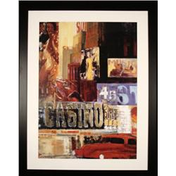 Large Las Vegas Street Collage Art Print Framed