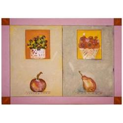 Laliberte Mixed Media Still Life Painting AH, HA 1995