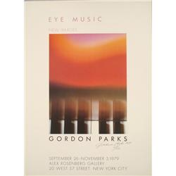 Gordon Parks Signed Eye Music Art Exhibition Poster