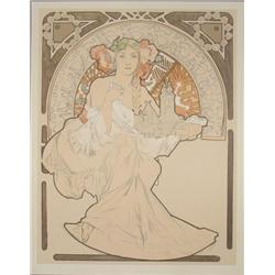 Alphonse Mucha Woman with Cathedral Art Nourveau Print