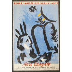 Original Chagall 1960 Beaux-Arts Exhibit Poster MOISE