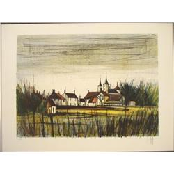 Bernard Buffet Signed, Numberd Art Print French Village