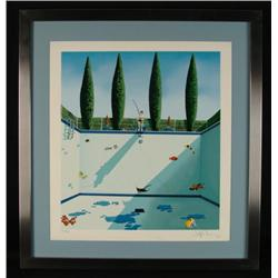 The Pool Surrealist Framed Art Print Fish Artist Signed
