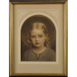 EG Inc. Girl Portrait Vintage Art Print Framed 1930s