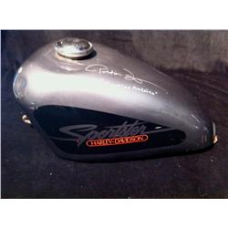 Easy Rider (1969) A Peter Fonda Autographed Harley Davidson Gas Tank and One Sheet