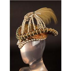 "Clare Eames ""Queen Elizabeth"" peach damask hat with pearls from Dorothy Vernon of Haddon Hall"