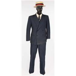 Harold Lloyd personal blue suit with signature straw hat from the Harold Lloyd Estate, dated 1928