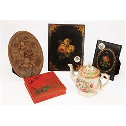 Porcelain teapot hand-painted lacquer wall hangings & other effects from the estate of Mary Pickford