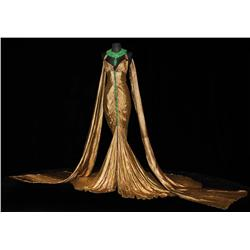 Claudette Colbert signature gold-lamé and emerald boudoir gown by Travis Banton from 1934 Cleopatra