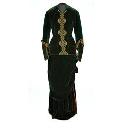 Greta Garbo  signature dark green velvet period dress designed by Adrian from Anna Karenina