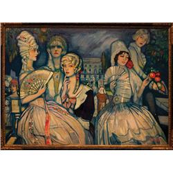 Marion Davies monumental oil painting by Federico Beltran Masses from Davies' estate