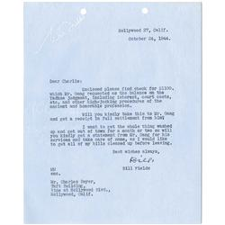 W. C. Fields typed letter signed regarding Yadkoe v. Fields