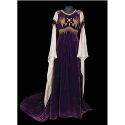 Norma Shearer purple velvet embroidered dress with train, by Adrian from Romeo and Juliet