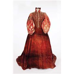 "Florence Eldridge ""Elizabeth Tudor"" red period dress by Walter Plunkett form Mary of Scotland"