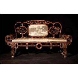 Antique carved rosewood opium bed with later carved sideboard from The Good Earth