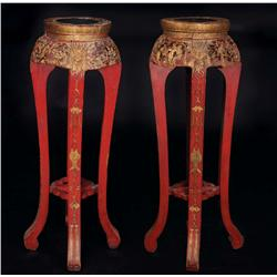 Collection of rosewood-colored Asian-carved stands and other furniture from The Good Earth