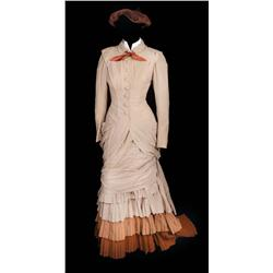 "Ingrid Bergman ""Paula Alquist"" tan wool crepe period dress with hat from Gaslight"