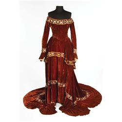 Tallulah Bankhead cognac two-piece period gown designed by Rene Hubert from A Royal Scandal