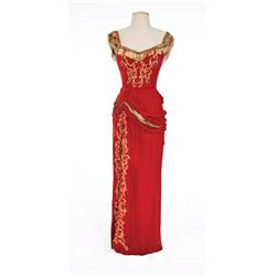 "Betty Grable ""Winifred Jones"" red velvet beaded dress from The Beautiful Blonde from Bashful Bend"
