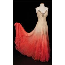 Ann Miller White chiffon gown with red feathers from Easter Parade