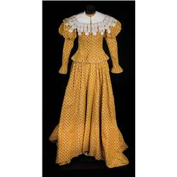 "Viveca Lindfors ""Queen Margaret"" yellow velvet 2-piece period gown from Adventures of Don Juan"