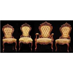 Lot of four (4) American Rococo Revival chairs from Little Women