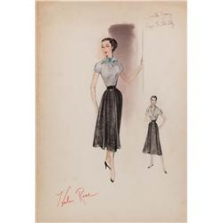 Helen Rose costume design sketch of Loretta Young from Key to the City