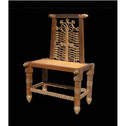 Pair of carved wood tables/chairs with rams heads accents and pineapple feet