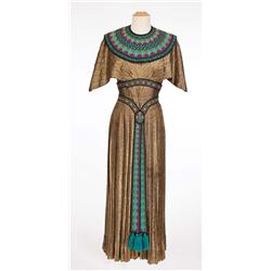 "Blanche Thebom ""Vocalist – Opera Montage"" dark gold lamé Egyptian dress from The Great Caruso"