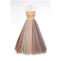 "Susan Hayward ""Jane Froman"" pastel rainbow-hued ball gown from With a Song in My Heart"