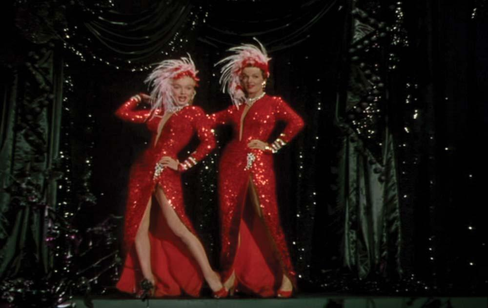 Marilyn Monroe signature red-sequined showgirl gown with feathered ...