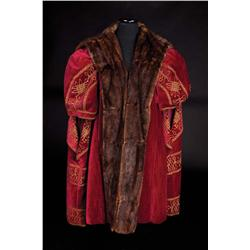 "Charles Laughton ""Henry VIII"" burgundy velvet long vest with fur trim from Young Bess"