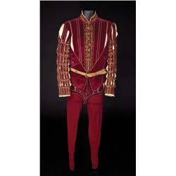Stewart Granger  burgundy velvet two-piece period outfit with long vest, and belt from Young Bess
